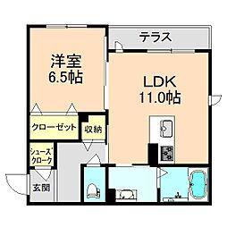 クオーレキヨ 1階1LDKの間取り