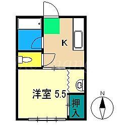 山岡ハイツ[2階]の間取り
