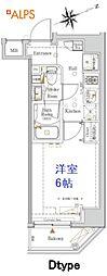 JR京浜東北・根岸線 桜木町駅 徒歩10分の賃貸マンション 6階1Kの間取り