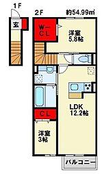 福岡県北九州市若松区原町の賃貸アパートの間取り