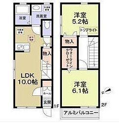 京王線 東府中駅 徒歩7分の賃貸アパート 2階2LDKの間取り
