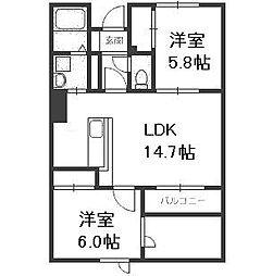 北海道札幌市中央区南九条西9丁目の賃貸マンションの間取り