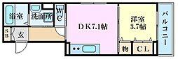 広島電鉄6系統 舟入川口町駅 徒歩3分の賃貸アパート 1階1DKの間取り