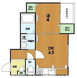 JR片町線(学研都市線) 長尾駅 徒歩10分の賃貸マンション 2階1DKの間取り