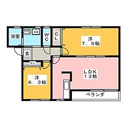 宮城県仙台市若林区六十人町の賃貸アパートの間取り
