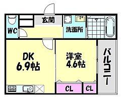 南海線 北助松駅 徒歩9分の賃貸アパート 1階1DKの間取り