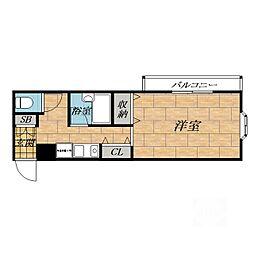 大阪府吹田市片山町3丁目の賃貸マンションの間取り