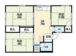 福岡県北九州市小倉南区中曽根2丁目の賃貸アパートの間取り
