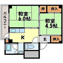 ビレッジハウス琴海2号棟[5階]の間取り