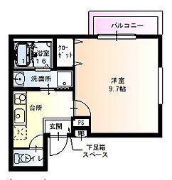 阪神本線 尼崎駅 徒歩7分の賃貸アパート 3階1Kの間取り