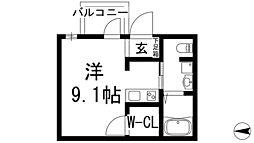 阪急宝塚本線 池田駅 徒歩10分の賃貸マンション 2階ワンルームの間取り