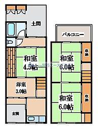 [一戸建] 大阪府大阪市東成区東中本3丁目 の賃貸【/】の間取り