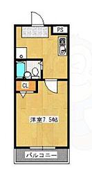 pure dormitory SHIMIZU 2階1Kの間取り