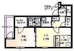 フジパレス姫島[203号室]の間取り