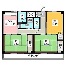 ビレッジハウス増田3号棟[4階]の間取り