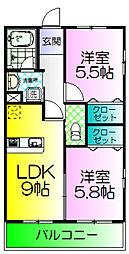 ロータス浜寺[2階]の間取り
