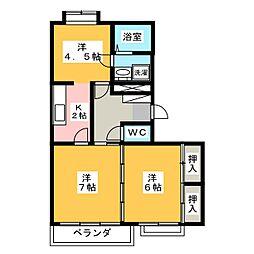 サンライトカネ井[2階]の間取り