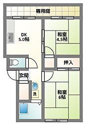 大阪府門真市末広町の賃貸アパートの間取り