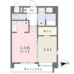 JR鹿児島本線 熊本駅 徒歩19分の賃貸マンション 2階1LDKの間取り