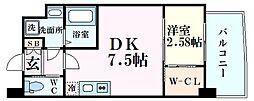 阪神本線 甲子園駅 徒歩8分の賃貸マンション 3階1DKの間取り
