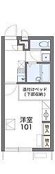 南海高野線 滝谷駅 徒歩13分の賃貸アパート 1階1Kの間取り