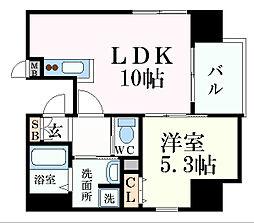 プレサンス三宮ディライト 9階1LDKの間取り