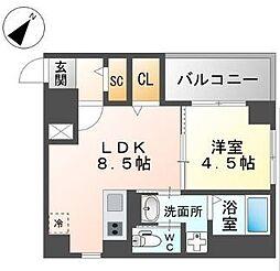 西鉄天神大牟田線 西鉄平尾駅 徒歩4分の賃貸マンション 5階1LDKの間取り