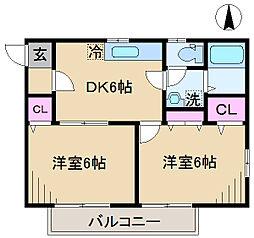東京都北区中里3丁目の賃貸アパートの間取り