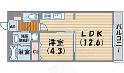 阪急今津線 西宮北口駅 徒歩13分の賃貸マンション 2階1LDKの間取り