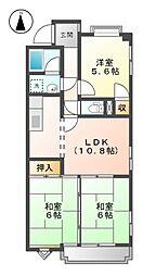 メゾンドサン[3階]の間取り