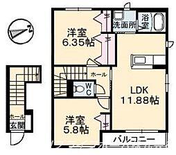 シャーメゾンプランドールE棟[2階]の間取り