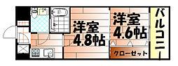No.47 PROJECT2100小倉駅[1406号室]の間取り