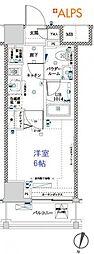横浜市営地下鉄ブルーライン 吉野町駅 徒歩6分の賃貸マンション 3階1Kの間取り
