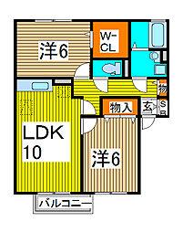 埼玉県さいたま市南区大字大谷口の賃貸アパートの間取り
