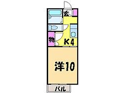 愛媛県松山市一番町1丁目の賃貸アパートの間取り
