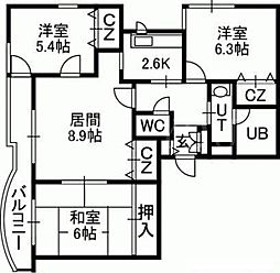 クイーンズリブレK1[3階]の間取り