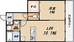 シャーメゾン朝日 1階1LDKの間取り