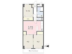 伊予鉄道高浜線 高浜駅 徒歩11分の賃貸マンション 5階3LDKの間取り