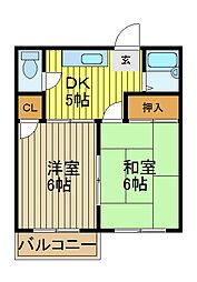 コーポ森田[203号室]の間取り