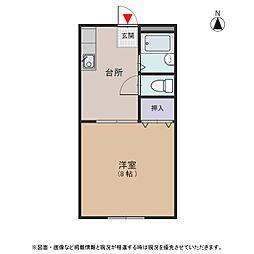 愛知県安城市古井町松山の賃貸アパートの間取り