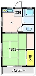 第三末中荘[2階]の間取り