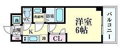 エスリード大阪ドームCERCA(セルカ) 5階1Kの間取り