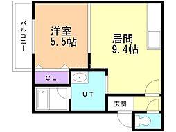 Urban Place 2nd(アーバンプレイスセカンド) 1階1LDKの間取り