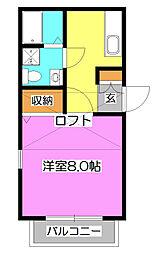 埼玉県所沢市寿町の賃貸アパートの間取り