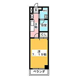 アルステージ武蔵小杉II 2階1Kの間取り