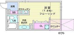 仙台市地下鉄東西線 八木山動物公園駅 徒歩12分の賃貸アパート 1階ワンルームの間取り
