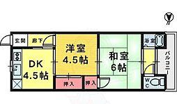 松本マンション 2階2DKの間取り