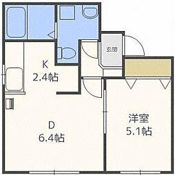 プレシア東札幌[4階]の間取り