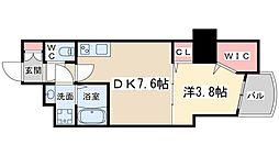 Osaka Metro谷町線 南森町駅 徒歩5分の賃貸マンション 2階1DKの間取り