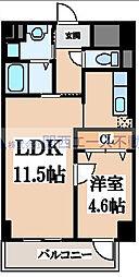 瓦屋町3丁目マンション[4階]の間取り